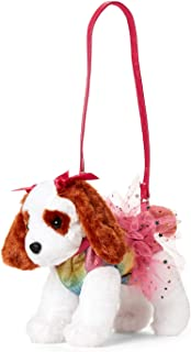 Tan Dog with Pink Clothes//Rainbow//Star Confetti Poochie /& Co Plush Dog Purse