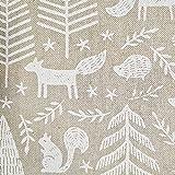 Stoff Tela de algodón por metros, diseño de erizo, zorro, ardilla, bosque, blanco, árboles, abeto otoñal, fácil de limpiar, tela decorativa, aspecto de lino, precio por metro