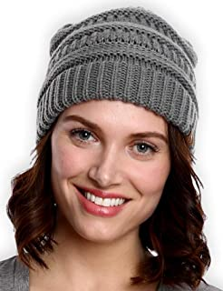 Womens Cable Knit Beanie – Warm & Soft Stretch Winter Hats for Cold Weather