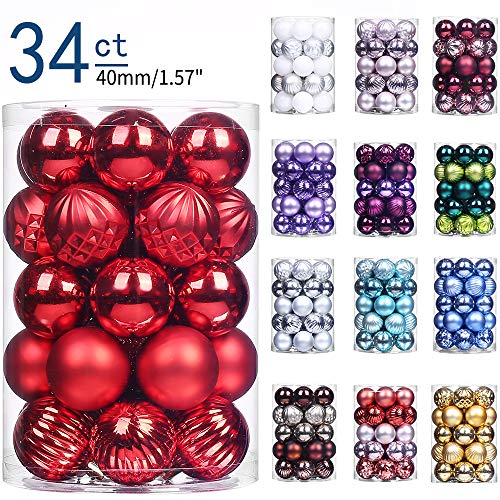 XmasExp 34ct Christmas Ball Ornaments Shatterproof Christmas Ornaments Set Decorations for Xmas Tree Balls 40mm/1.57