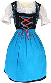 Women-s Di20, 3 Piece Mini Dirndl-s Drindle-s Dress-ES, Blouse, Apron, Sizes 4-22