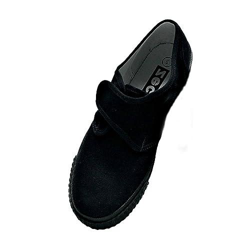 b34a8658baf9 School Girls Boys Adults Black Velcro Plimsoles Pumps Plimsolls All Sizes  Free Postage