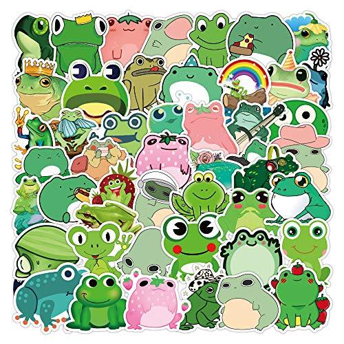DSSJ 50 Pegatinas de Rana de Dibujos Animados, Maleta con protección para los Ojos Verdes, Maleta, Guitarra, Pegatinas de Juego para niños Lindos