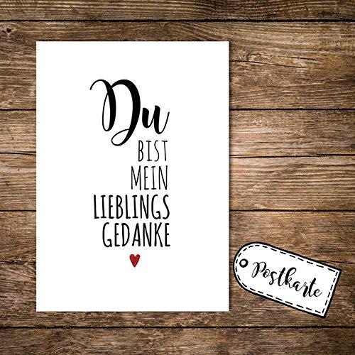 ilka parey wandtattoo-welt® A6 Postkarte Print mit Spruch Du bist Mein Lieblingsgedanke pk01
