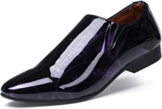 AiHua Huang Men's Business Oxford Casual Personality Fashion Show Off The Color Pointed Toe Patent Leather Formal Shoes (Color : Purple, Size : 7 UK)