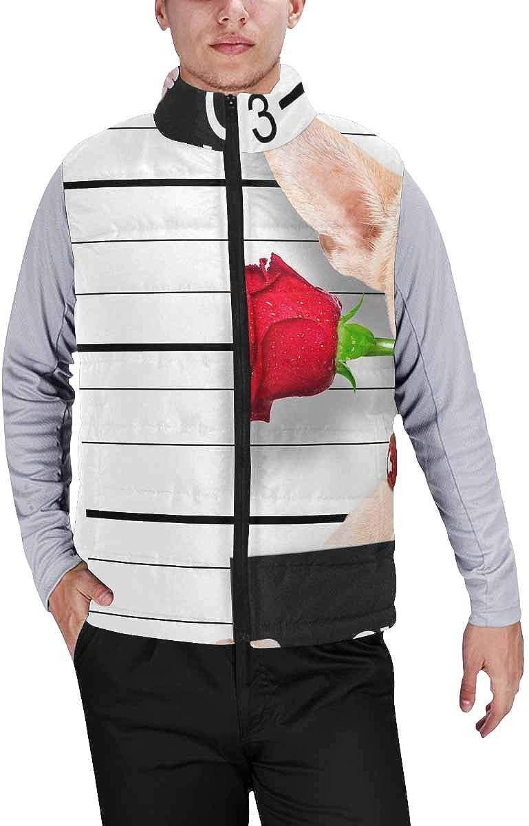 InterestPrint Men's Winter Lightweight Sleeveless Padded Vest Valentines Chihuahua Dog with Rose S