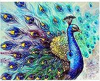 数字でペイントするブラシとアクリル顔料を使ったキット大人のためのDIYキャンバスペインティング初心者美しい青孔雀40X50Cm