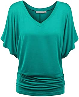 Thin Soft Women Loose Tunic Top T-Shirt V-Neck Maxi Cotton Shirts Drape Shirring Waist Solid Color