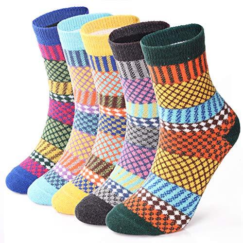ElifeAcc 5 Paar Frauen Winter Stricken Verdicken Warme Baumwollsocken Thermische Socken Verschiedene Muster UK 4-6.5 EU 35-39 (Vintage Style 4)