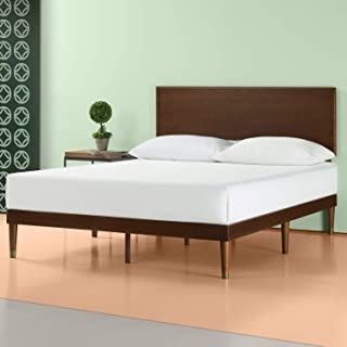 Zinus Deluxe Mid-Century Wood Platform Bed with Adjustable height Headboard, no Box Spring needed, Full