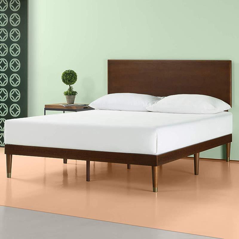 Zinus Deluxe Mid Century Wood Platform Bed With Adjustable Height Headboard No Box Spring Needed King