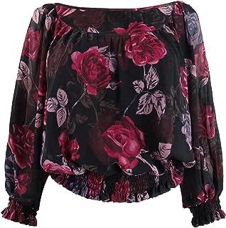 GUESS Womens Gregoria Smocked 3/4 Sleeves Crop Top Black