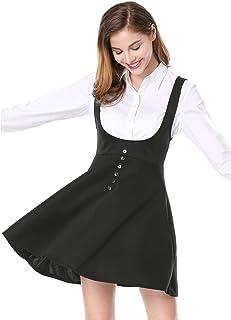 Allegra K Women's Cute Button Decor Overalls Pinafore Dress Suspenders Skirt