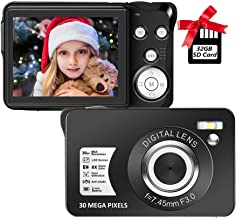 Digital Camera,30MP Compact Camera,2.7 inch Pocket Camera,Rechargeable Small Digital Camera for Kids,Students,School,Child...