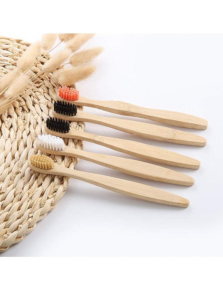 10ピース/セット環境に優しい天然竹炭歯ブラシ柔らかい毛低炭素ポータブル歯クリーンブラシ、