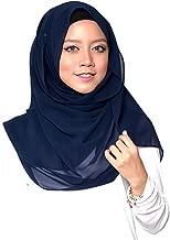 ❤️ SAFIYA - Hijab for muslim women I Long headscarf islamic scarf turban pashmina shawl cap underscarf pins I Chiffon I Navy blue - 75x180cm