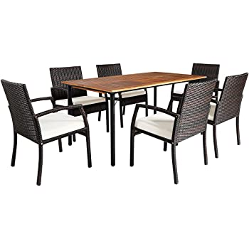 Tangkula 7PCS Patio Dining Set, Acacia Wood Wicker Dining Furniture Set with Sturdy Steel Frame & Umbrella Hole, Outdoor Dining Table Chair Set with Removable Cushions for Backyard, Garden, Poolside
