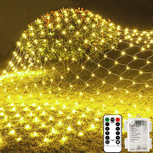 100 Led Net Curtain Fairy Light String Warm White Battery Powered, 8 Modes Remote Timer Dimmable Garden Patio Mesh Lighting for Bush Deck Fence Wall Party Wedding Christmas Decor (1.5m x 1.5m)
