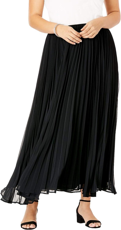 Jessica London Women's Plus Size Pleated Maxi Skirt
