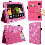 Cellularvilla Case for Amazon Kindle Fire HD 7' 7 Inch 2013 Edition Pink Glitter Shiny Pu Leather Elastic Hand Strap Flip Folio Stand Case Cover