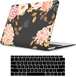 iLeadon MacBook Air 13 Inch Case 2020 2019 2018 Release A2179 A1932, Soft Touch Ultra Thin Hard Shell Cover for Apple Newest MacBook Air 13 Inch with Retina Display fits Touch ID, Floral Black Base