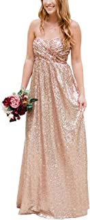 JONLYC Women's A-Line Sweetheart Sequin Long Bridesmaid Dresses Maid of Honor Gowns