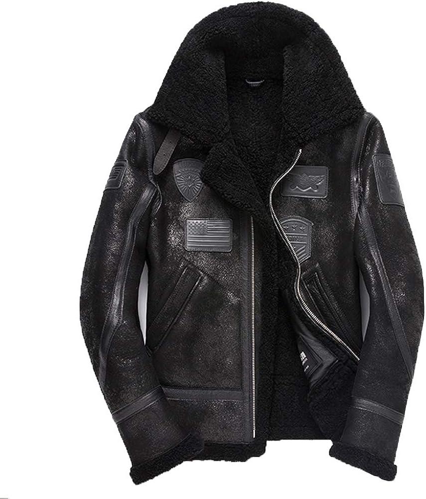 Denny&Dora New Mens Shearling Jacket Black Fur Coat B3 Bomber Flight Jacket Short Leather Jacket