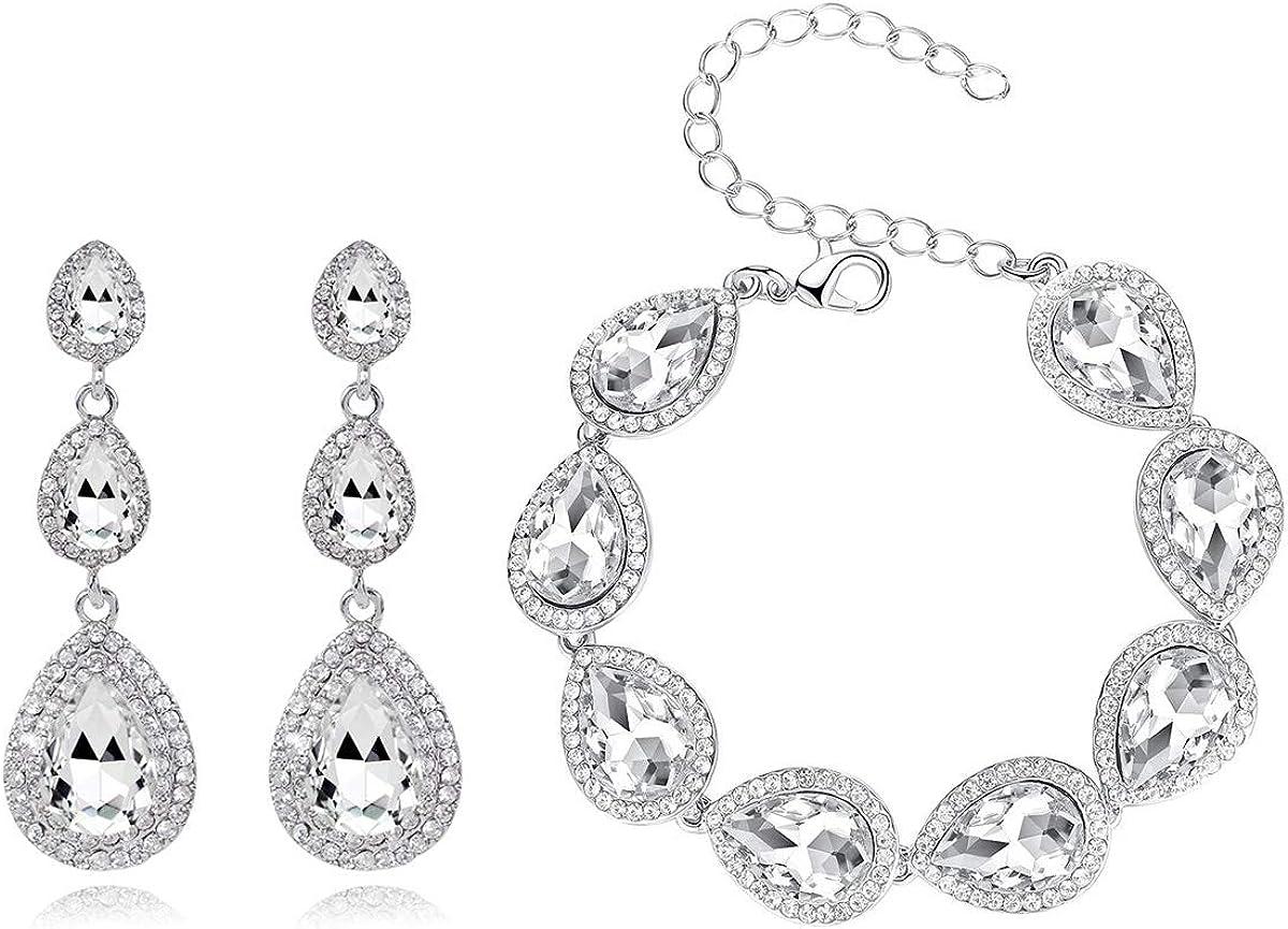UDORA Bridal Bridesmaid Teardrop Long Earrings Bracelet Jewelry Set