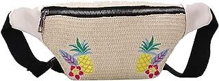 TOOGOO Women's Bag Straw Bag Fashion Strap Waist Bag Beach Pockets Handbags Pockets Messenger Bag Shoulder Bag Khaki