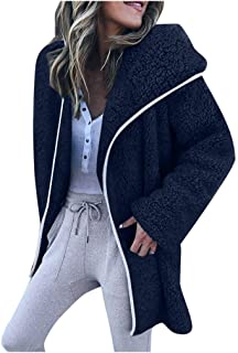 Pandaie Womens Cardigans Casual Solid Faux Fur Plush Hooded Cardigan Winter Jacket Chunky Warm Coat with Pockets