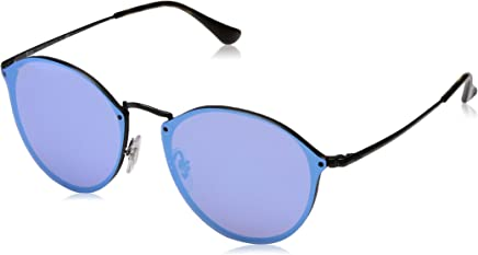 Ray Ban Unisex-Yetişkin Güneş Gözlükleri 0RB BLAZE ROUND 153/7V 59, DEMIGLOS BLACK\DARKVIOLETMIRRORBLUEE,