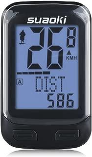 suaoki サイクルコンピューター スピードメーター ワイヤレス 簡単取付 バックライト 多機能 ケイデンス スピード 距離 気温 消費カロリーなどを計測