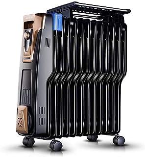 ZXF@ Radiador Lleno De Aceite 2200W, 12 Aletas - Calefacción Eléctrica Tipo S Calentador Eléctrico De Ahorro De Energía 3 Configuraciones De Calor, Termostato Ajustable, Corte De Seguridad Térmica