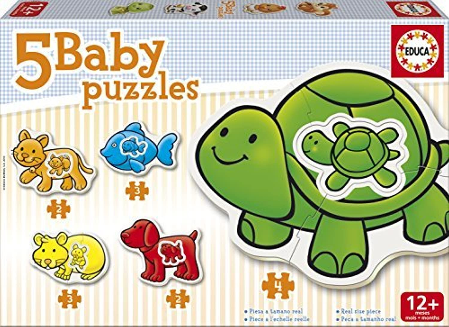 Jigsaw Puzzles - 2 to 4 Pieces - 5 Baby Puzzles - Domestic Animals by Educa