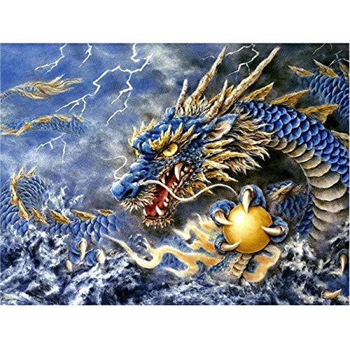 DIY 5D Diamond Painting Kits Full Drill Arts Craft Canvas Supply for Home Wall Decor Adults and Kids Square Diamond Lightning Dragon 32inx96in