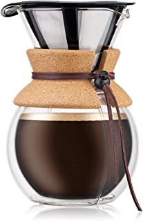 BODUM Pour Over 8 Cup Double Wall Coffee Maker, 16.2 x 14.9 x 22.2 cm,Transparent