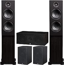 PSB Alpha Speakers Bundle: T20 Floorstanding (Pair), P5 Bookshelf (Pair), and C10 Center Channel in Black Ash