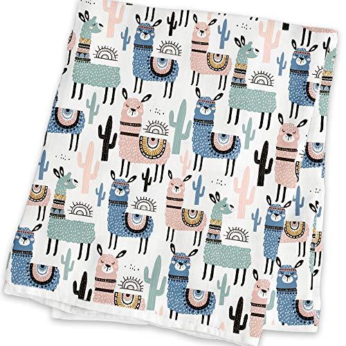 Mammacita Pucktuch Baby (2er Set) Spucktücher Baby aus OEKO TEX Baumwolle - Mulltücher für Babys mit süßen Lamas - hochwertiges Musselin Tuch, Puckdecke, Stilltuch (120x120 cm + 75x75 cm)