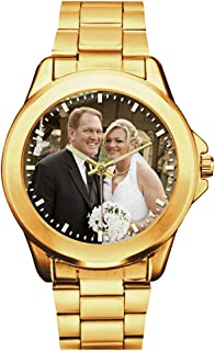 Custom Photo Watches for Men, Personalized Fathers Day Gift, Gold Stainless Steel Watch