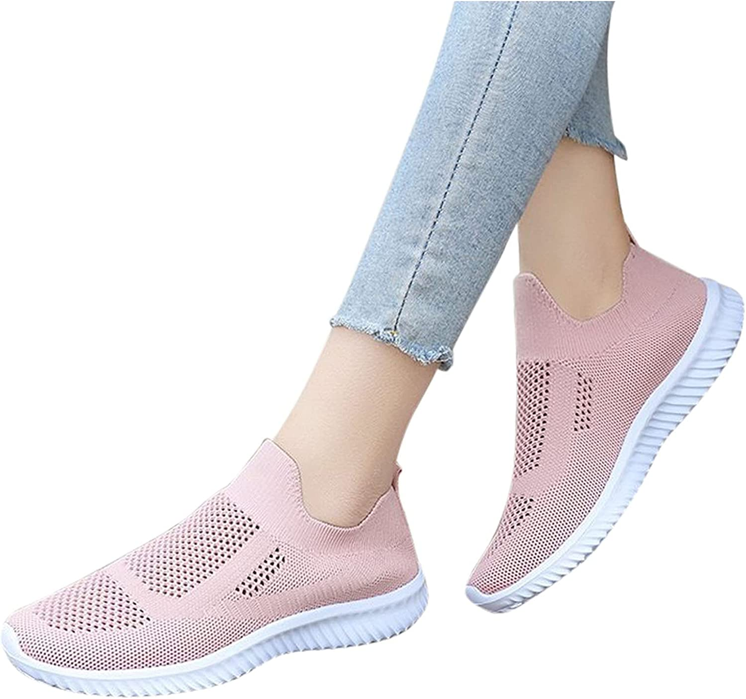 Hbeylia Women's Walking Shoes Slip On Sock Sneakers Fashion Lightweight Knit Outdoor Running Hiking Tennis Sneakers Athletic Shoes For Women Men Workout Gym Driving Nursing Working