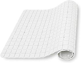 Bathlux Nazaafat53 Non-Slip Bath Mat Shower Rug PVC Mat Anti-Bacterial Massaging with Vacuum Suction Cup, White, 35 x 78 cm