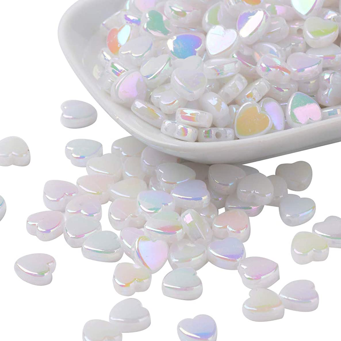 ARRICRAFT 500g 8mm Transparent Acrylic Beads Heart White Pony Beads for Bracelet Necklace Jewelry Design, About 2800pcs/500g