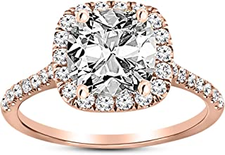 1.25 Ctw 14K White Gold Halo GIA Certified Diamond Engagement Ring Cushion Cut (0.75 Ct L Color VVS2 Clarity Center Stone)