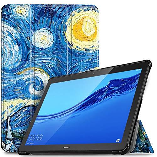 IVSO Custodia Cover per Huawei Mediapad T5 10, Slim Smart Protettiva Custodia Cover in Pelle PU per Huawei Mediapad T5 10.1 Pollici 2018, Sky