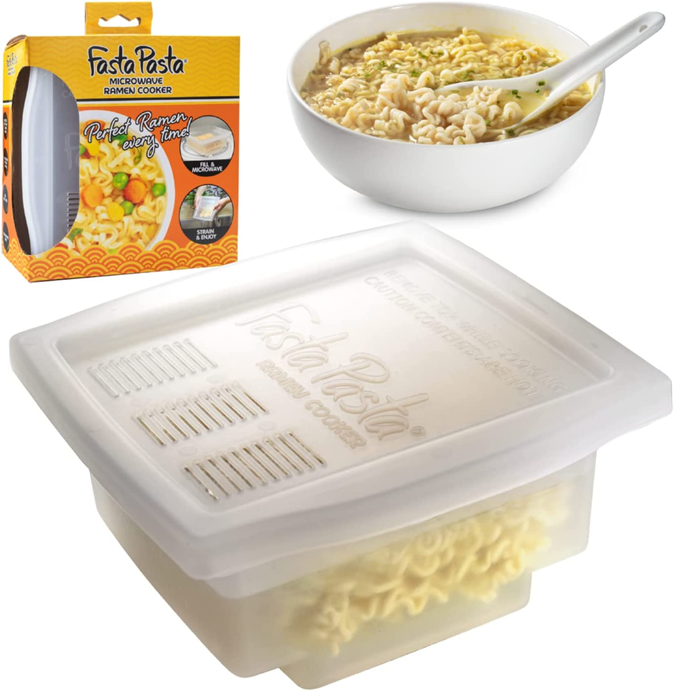 Fasta Pasta Microwave Ramen Noodle Cooker - No Mess, Sticking or Waiting For Boil - Patented Design Makes Perfect Noodles Every Time