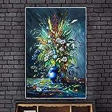 Auoeer Flores abstractas Modernas Pinturas al óleo Lienzo Cuadros de Arte de Pared Carteles e Impresiones para la Vida en el hogar Cuadros decoración de Pared 31.4'x47.2 (80x120cm) sin Marco