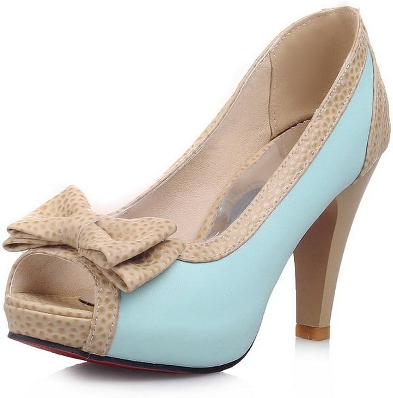 BalaMasa Womens Bows Peep-Toe Two-Toned Urethane Sandals