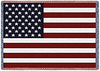 Pure Country Weavers | American Flag Large Woven Throw Blanket with Fringe USA 70x50 Cotton
