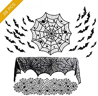 39 PCS Halloween Decorations Sets, Halloween Spider Wed Table Runners Spooky, Round Lace Table Cover, Fireplace Mantel Scarf and 32 Pieces 3D Bats Wall Sticker Decal for Halloween Party Decor