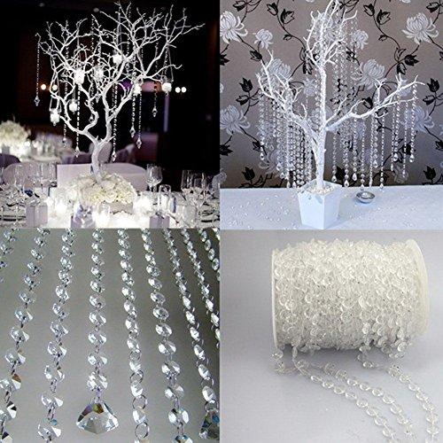 Pumpumly 4pcs*33FT 10 M Garland Diamond Strand Acrylic Crystal Bead Curtain Wedding DIY Birthday Party Decor